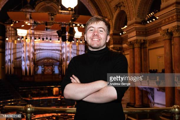 Leeds International Piano Competition finalist Thomas Kelly from Great Britain poses in Leeds Town Hall during the Leeds Piano Trail 2021 on...