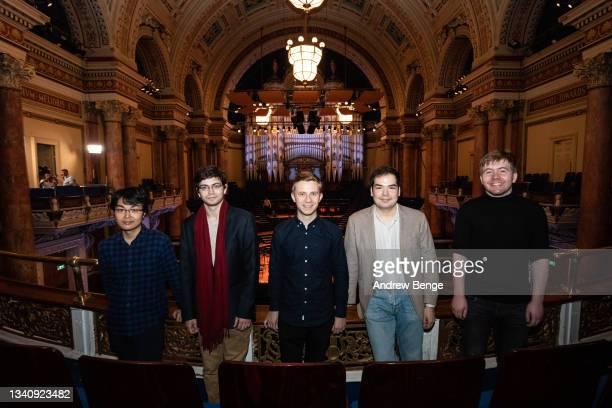 Leeds International Piano Competition finalists Kaito Kobayashi, Ariel Lanyi, Dmytro Choni, Alim Beisembayev and Thomas Kelly pose in Leeds Town Hall...