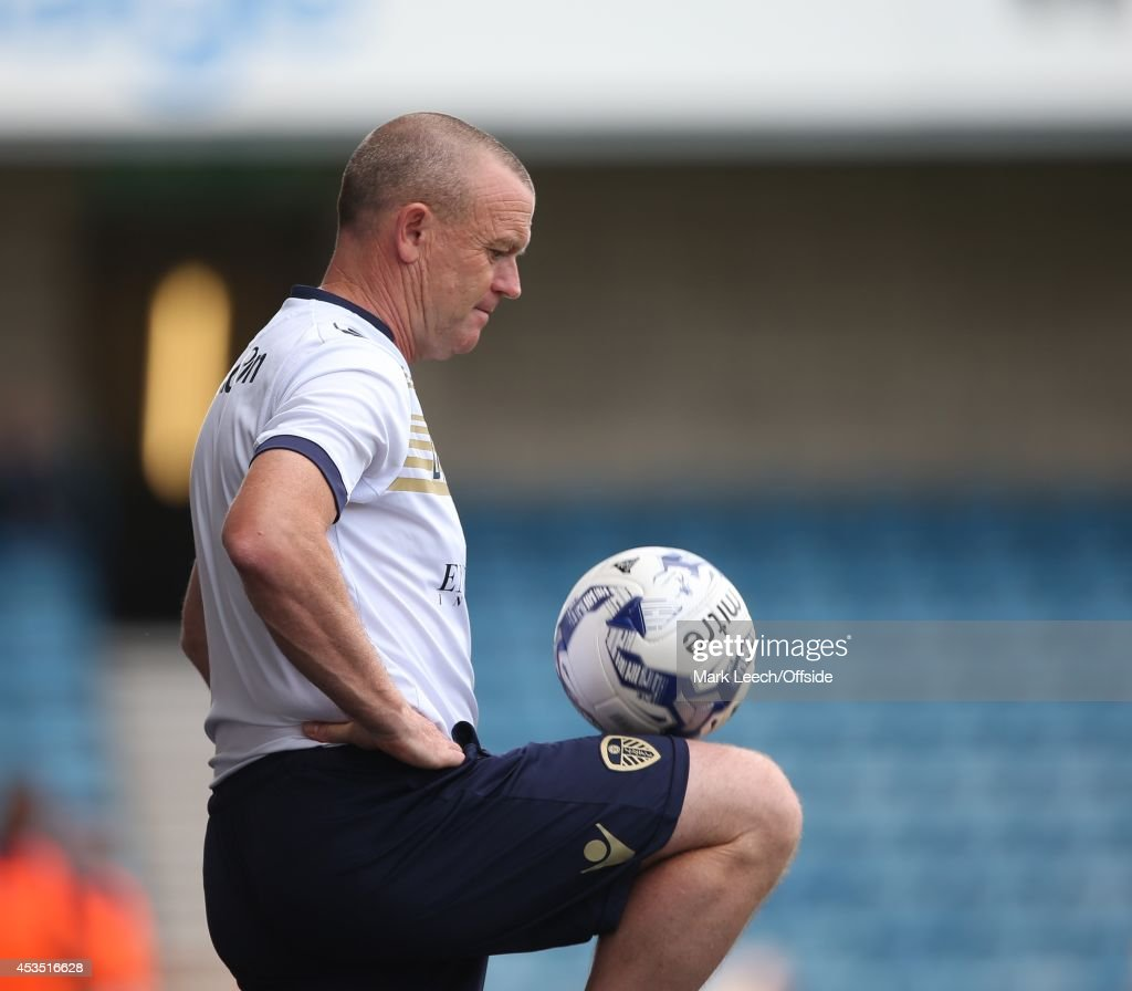 Leeds manager Dave Hockaday controls the ball on his thigh during the Sky Bet Championship match between Millwall and Leeds United at The Den on August 9, 2014 in London, England.