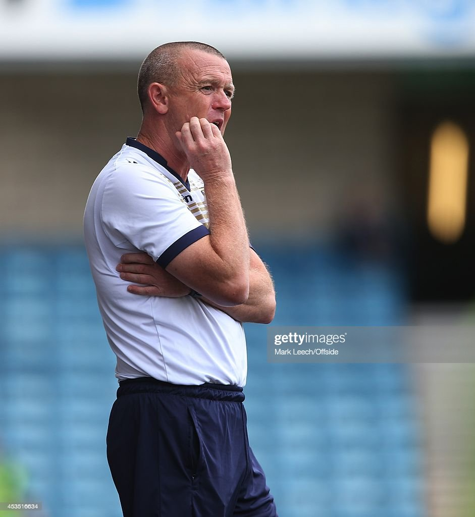 Leeds manager Dave Hockaday during the Sky Bet Championship match between Millwall and Leeds United at The Den on August 9, 2014 in London, England.