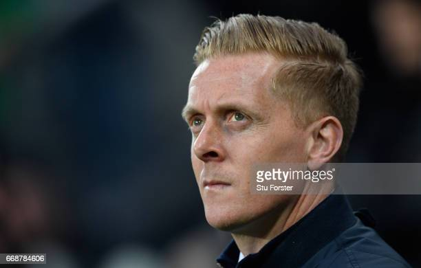 Leeds manager Garry Monk looks on before the Sky Bet Championship match between Newcastle United and Leeds United at St James' Park on April 14 2017...