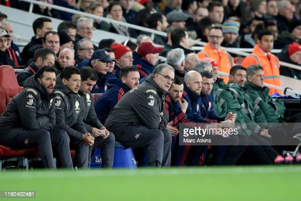 Leeds manager Marcelo Bielsa among his coaching staff during the FA Cup Third Round match between Arsenal and Leeds United at Emirates Stadium on...