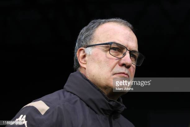 Leeds manager Marcelo Bielsa during the Sky Bet Championship match between Fulham and Leeds United at Craven Cottage on December 21 2019 in London...