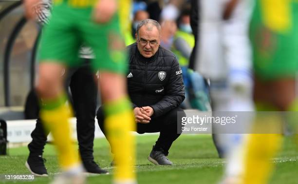 Leeds manager Marcelo Bielsa looks on from the sideline during the Premier League match between Leeds United and West Bromwich Albion at Elland Road...