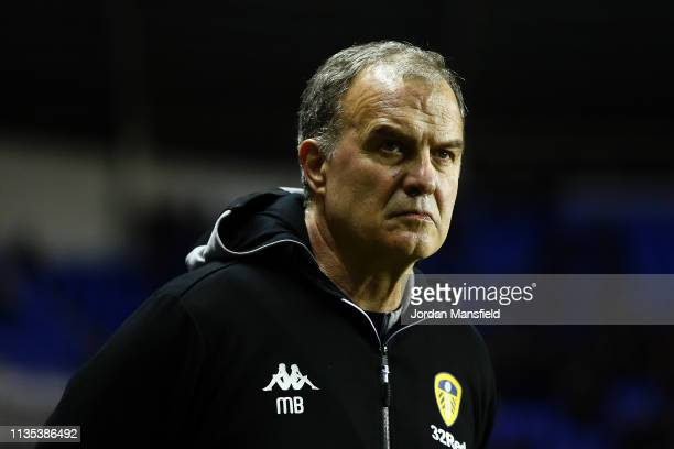 Leeds Manager Marcelo Bielsa looks on prior to the Sky Bet Championship between Reading and Leeds United at the Madejski Stadium on March 12 2019 in...