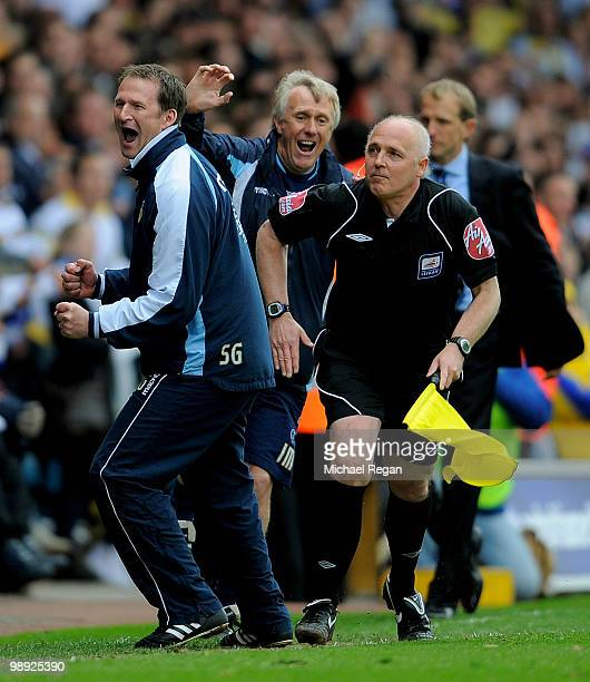 Leeds manager Simon Grayson celebrates victory and promotion on the final whistle of the Coca Cola League One match between Leeds United and Bristol...
