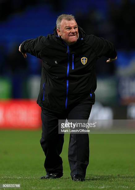 Leeds manager Steve Evans celebrates victory after the Emirates FA Cup Fourth Round match between Bolton Wanderers and Leeds United at the Macron...