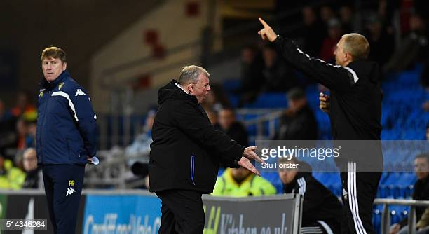 Leeds manager Steve Evans reacts during the Sky Bet Championship match between Cardiff City and Leeds United at Cardiff City Stadium on March 8 2016...