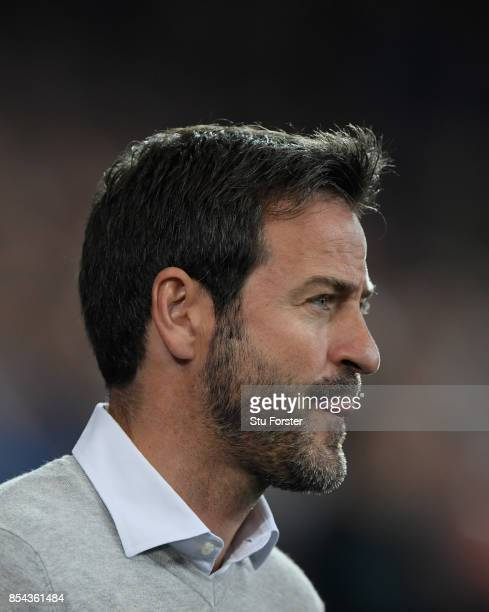 Leeds manager Thomas Christiansen looks on during the Sky Bet Championship match between Cardiff City and Leeds United at Cardiff City Stadium on...