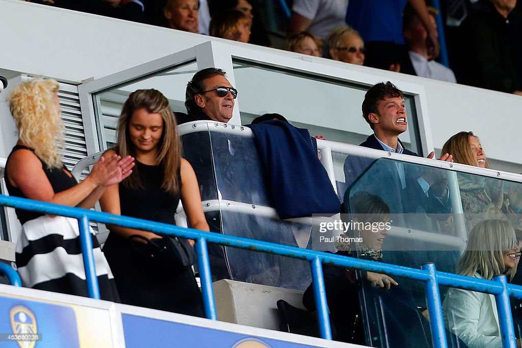 Leeds owner Massimo Cellino (C) watches on during the Sky Bet Championship match between Leeds United and Middlesbrough at Elland Road on August 16, 2014 in Leeds, England.