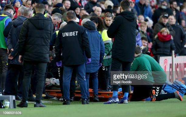 Leeds player Jack Clark is treated from the Leeds United dugout during the Sky Bet Championship match between Middlesbrough and Leeds United at the...