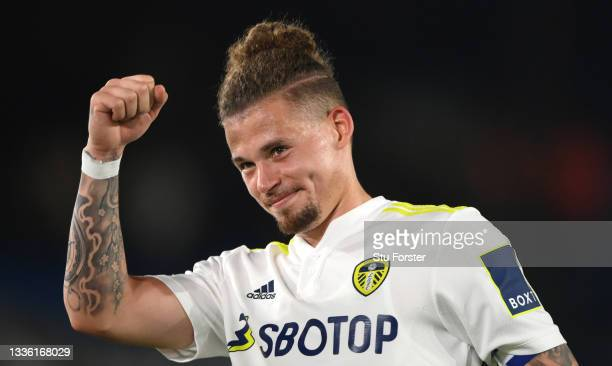 Leeds player Kalvin Phillips celebrates with fans after the Carabao Cup Second Round match between Leeds United and Crewe Alexandra at Elland Road on...