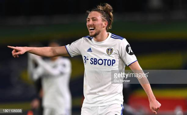 Leeds player Luke Ayling makes a point during the Premier League match between Leeds United and Crystal Palace at Elland Road on February 08, 2021 in...