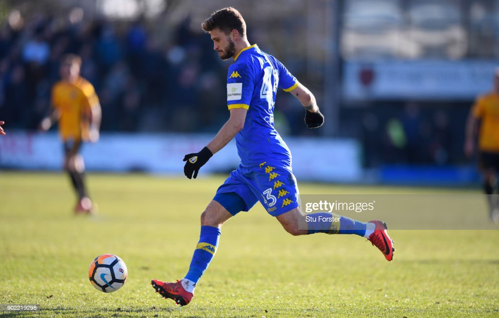 Leeds player Mateusz Klich in action during The Emirates FA Cup Third Round match between Newport County and Leeds United at Rodney Parade on January 7, 2018 in Newport, Wales.