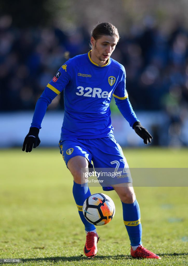 Leeds player Pawel Cibicki in action during The Emirates FA Cup Third Round match between Newport County and Leeds United at Rodney Parade on January 7, 2018 in Newport, Wales.