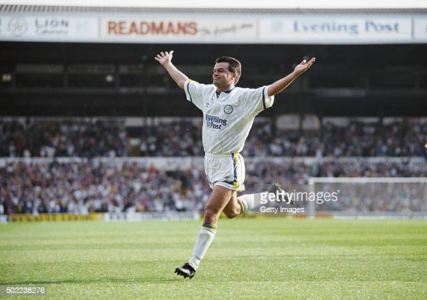 Leeds player Steve Hodge celebrates after scoring the winning goal in the First Division match between Leeds United and Liverpool on September 21...