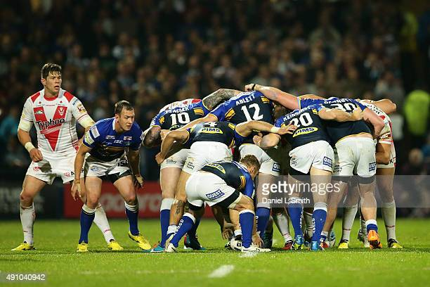 Leeds Rhinos and St Helens in the scrum during the First Utility Super League Semi Final between Leeds Rhinos and St Helens at Headingley Carnegie...