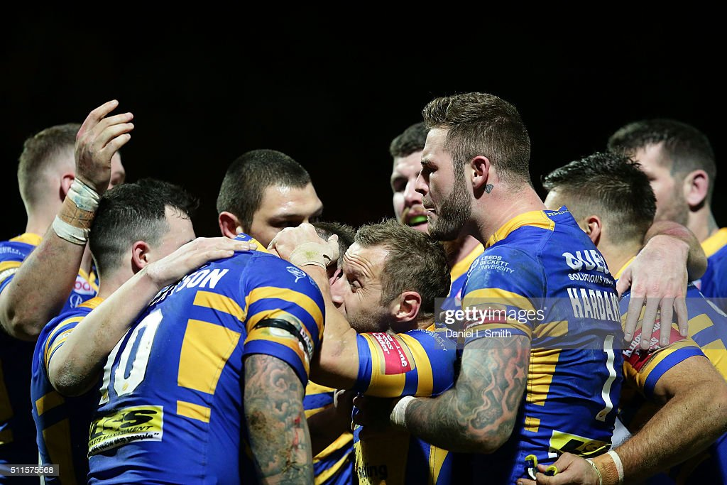 Leeds Rhinos celebrate scoring their first try during the World Club Series match between Leeds Rhinos and North Queensland Cowboys, at Headingley Carnegie Stadium, on February 21, 2016 in Leeds, England.