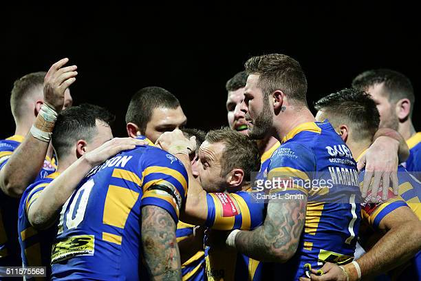 Leeds Rhinos celebrate scoring their first try during the World Club Series match between Leeds Rhinos and North Queensland Cowboys at Headingley...