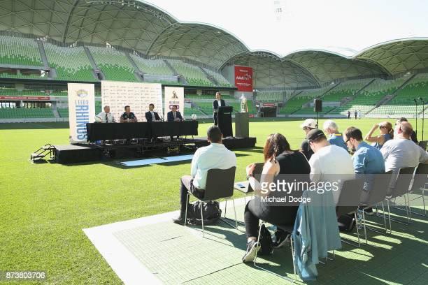 Leeds Rhino's CEO Gary Hetherington Storm head coach Coach Craig Bellamy Storm CEO Dave Donaghy and Sports Minister John Eren MP speak to media...