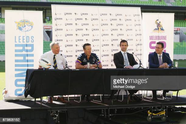 Leeds Rhino's CEO Gary Hetherington Storm head coach Coach Craig Bellamy Storm CEO Dave Donaghy and Sports Minister John Eren MP speak to media...