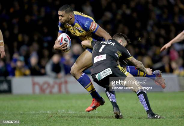 Leeds Rhinos Kallum Watkins is tackled by Salford Reds Gareth O'Brien during the Super League match at Headingley Stadium Leeds