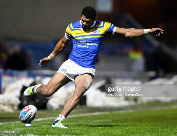 Leeds Rhinos' Kallum Watkins kicks at goal during the Betfred Super League Round 5 match between Leeds Rhinos and Hull FC at Headingley Carnegie...