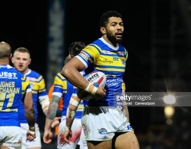 Leeds Rhinos' Kallum Watkins prepares for a kick at goal after scoring the opening try during the Betfred Super League Round 5 match between Leeds...