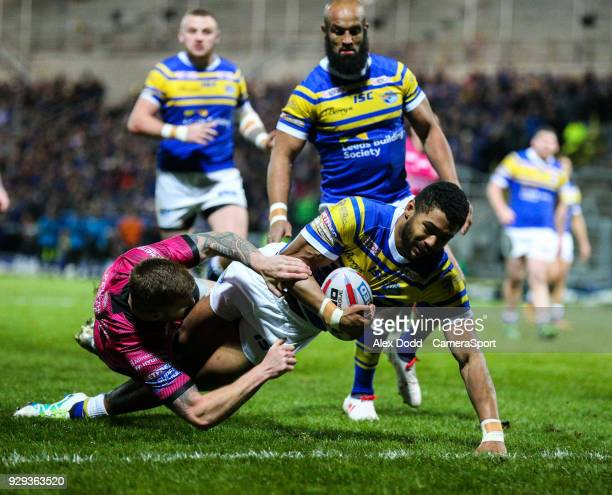 Leeds Rhinos' Kallum Watkins scores his side's first try during the Betfred Super League Round 5 match between Leeds Rhinos and Hull FC at Headingley...