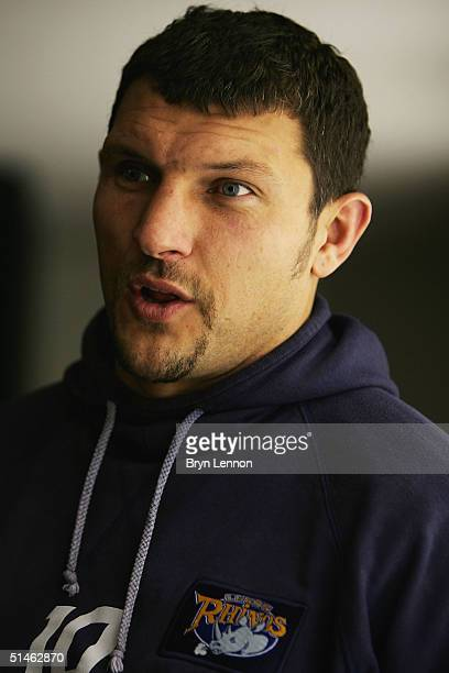 Leeds Rhinos player Barrie McDermott talks to the media during the Tetleys Super League Grand Final Press Conference at Old Trafford on October 11,...