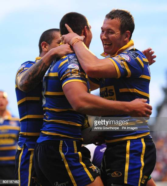 Leeds Rhinos' Ryan Hall celebrates his first try with Danny McGuire during engage Super League match at Headingley Carnegie Stadium Leeds
