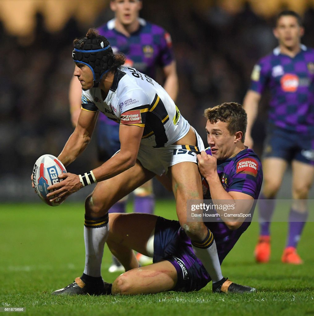 Leeds Rhinos's Ashton Golding is tackled by Wigan Warriors' Liam Forsyth during the Betfred Super League Round 7 match between Leeds Rhinos and Wigan Warriors at Headingley Carnegie Stadium on March 31, 2017 in Leeds, England.