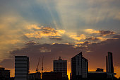 Leeds skyline at Sunset