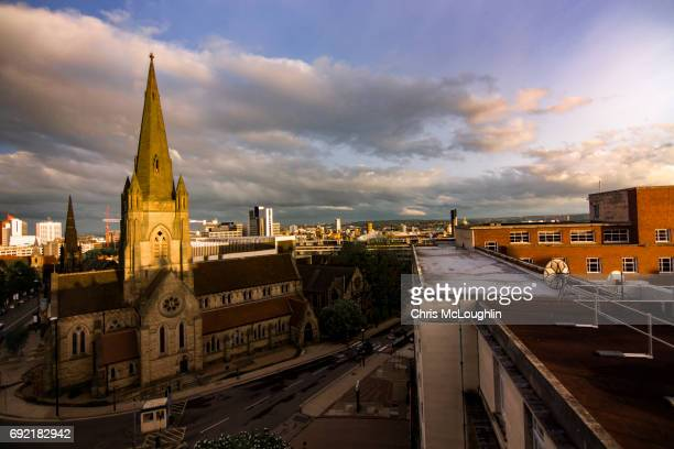 leeds skyline at sunset - leeds skyline stock photos and pictures