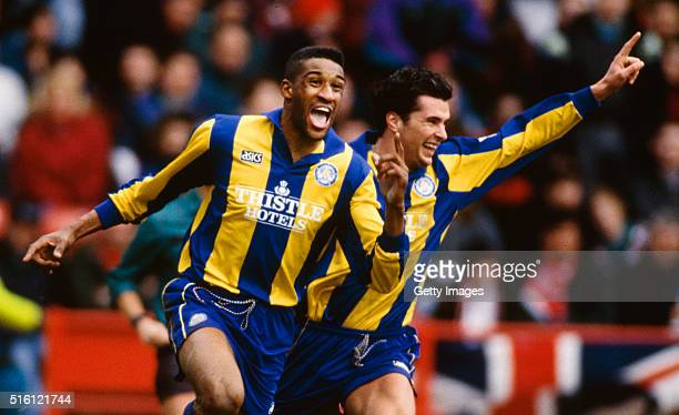 Leeds striker Brian Deane and Gary Speed celebrate a goal during the FA Premiership match between Sheffield United and Leeds United at Bramall Lane...