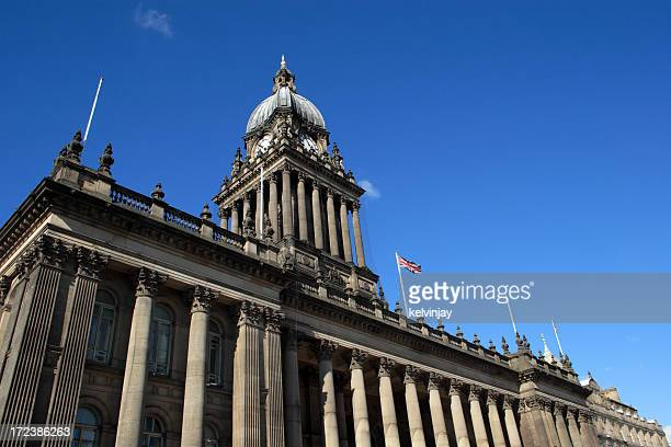 leeds town hall against a clear blue sky - leeds town hall stock photos and pictures