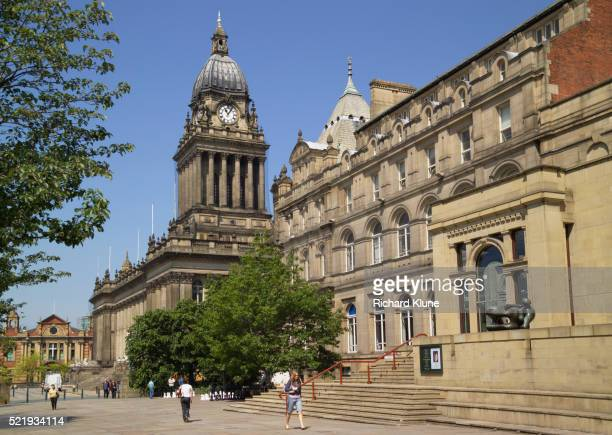 leeds town hall and art gallery - leeds stock pictures, royalty-free photos & images