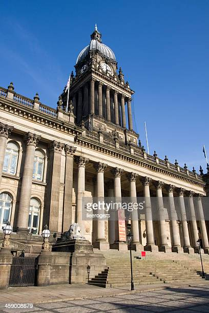 leeds town hall grand entrance and clock in west yorkshire - leeds town hall stock photos and pictures
