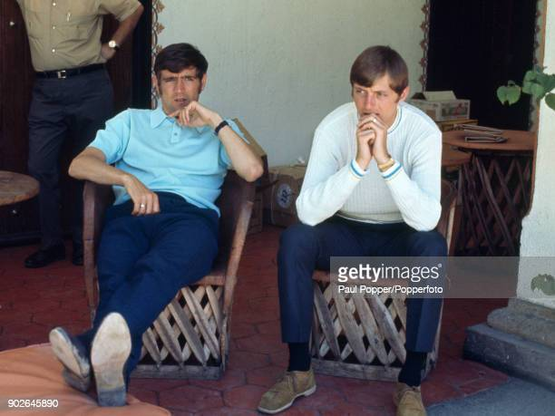 Leeds United and England footballers Norman Hunter and Allan Clarke relaxing at the Hilton Hotel in Guadalajara during the 1970 FIFA World Cup in...