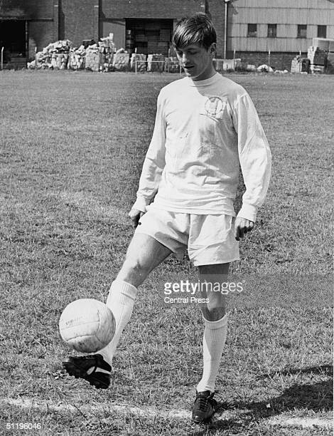 Leeds United and England striker Allan Clarke wearing the white home strip of his club 14th February 1970