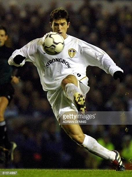 Leeds United Australian Harry Kewell vies against Grasshopper Club in a UEFA Cup third round match at Elland Road in Leeds 06 December 2001 Kewell...