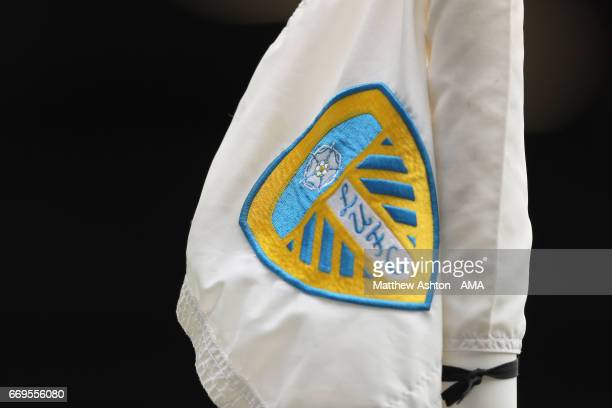 Leeds United badge on corner flag during the Sky Bet Championship match between Leeds United and Wolverhampton Wanderers at Elland Road on April 17...