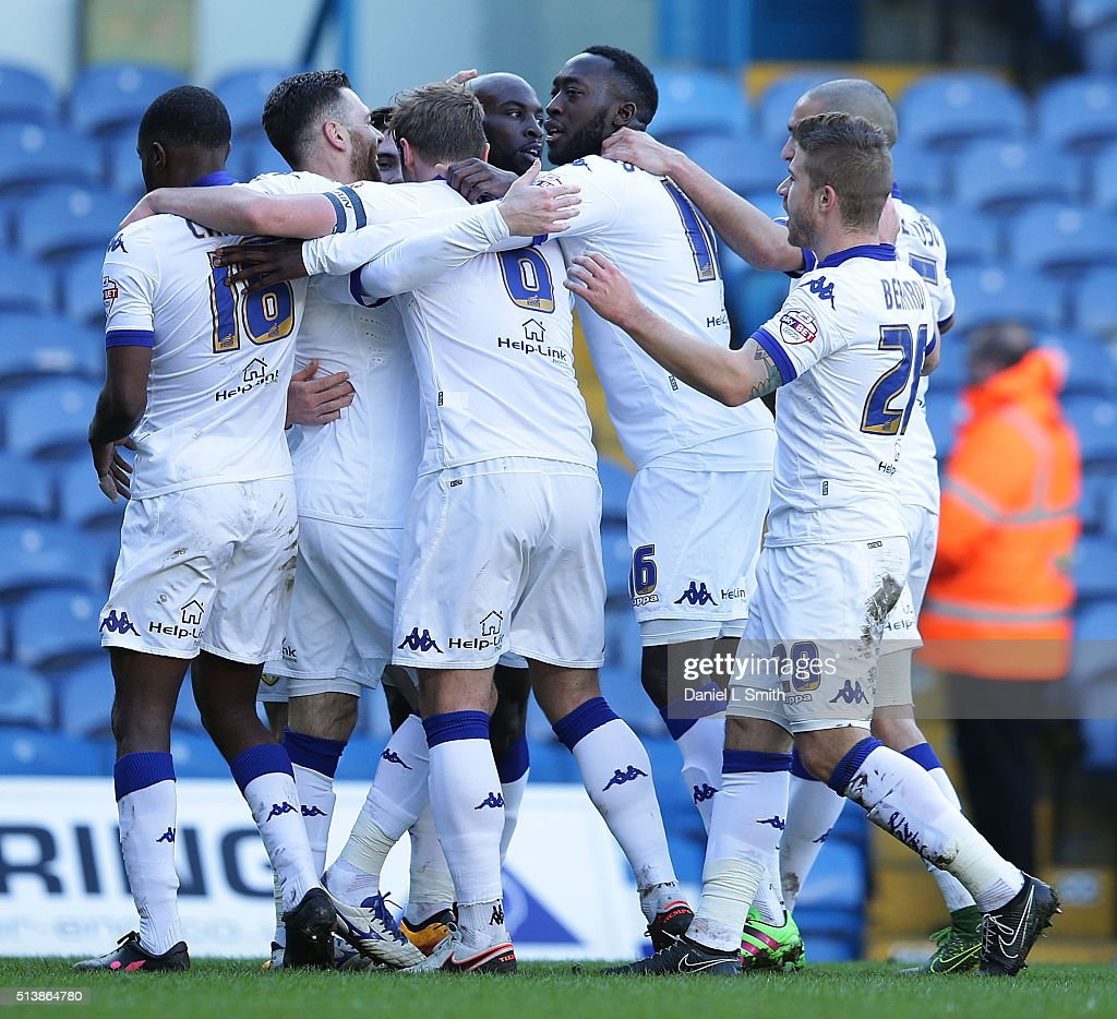 Leeds United celebrate after scoring the opening goal during the Sky Bet Championship League match between Leeds United and Bolton Wanderers, at Elland Road Stadium on March 5, 2016 in Leeds, United Kingdom.
