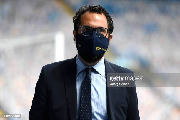 Leeds United director of football, Victor Orta looks on ahead of the Sky Bet Championship match between Leeds United and Fulham at Elland Road on...