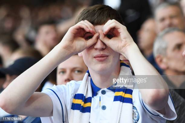 Leeds United fan gestures during the Sky Bet Championship match between Leeds United and Derby County at Elland Road on September 21, 2019 in Leeds,...