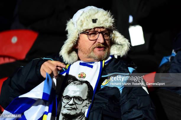 Leeds United fan looks on during the Sky Bet Championship match between Brentford and Leeds United at Griffin Park on February 11 2020 in Brentford...