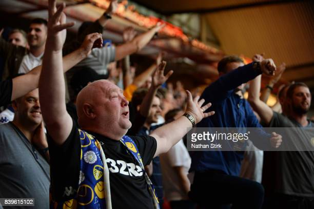 Leeds United fan sings during the Sky Bet Championship match between Nottingham Forest and Leeds United at City Ground on August 26 2017 in...