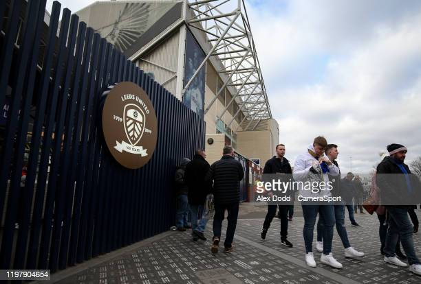 Leeds United fans arrive at Elland Road during the Sky Bet Championship match between Leeds United and Wigan Athletic at Elland Road on February 1...