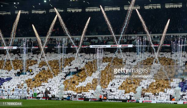 Leeds United fans celebrate 100 years of history during the Sky Bet Championship match between Leeds United and Birmingham City at Elland Road on...