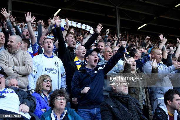 Leeds United fans celebrate during the Sky Bet Championship match between Leeds United and Millwall at Elland Road on March 30 2019 in Leeds England